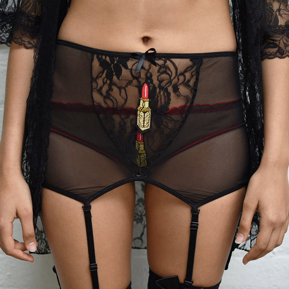 Leiko Lipsticks Black High Waisted Suspender Belt - Cherrylingerie