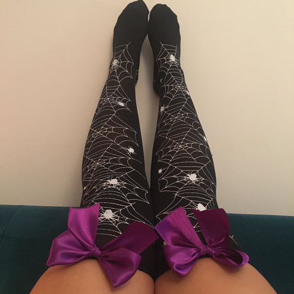 Blair Spider Webs Halloween Pin-Up Black With Purple Bows Thigh High Stockings - More Colours