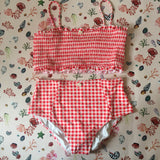 Coral Shells Red Gingham Bikini Top & High Waisted Briefs Set and Two Bow Scrunchies - Tropical Swimwear Gift Box Set