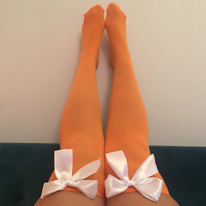 Ava Pin-Up Halloween Orange With White Bows Thigh High Stockings - More Colour Bows