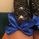 Blair Spider Webs Halloween Pin-Up Black With Royal Blue Bows Thigh High Stockings - More Colours