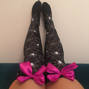 Blair Spider Webs Halloween Pin-Up Black With Hot Pink Bows Thigh High Stockings - More Colours