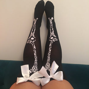 Blair Candy Skulls Halloween Pin-Up Black With White Bows Thigh High Stockings - More Colour Bows