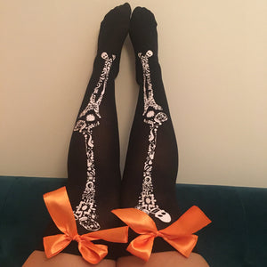 Blair Candy Skulls Halloween Pin-Up Black With Orange Bows Thigh High Stockings - More Colour Bows