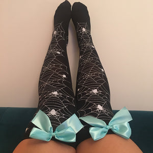 Blair Spider Webs Halloween Pin-Up Black With Light Blue Bows Thigh High Stockings - More Colours