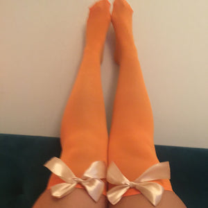 Ava Pin-Up Halloween Orange With Gold Bows Thigh High Stockings - More Colour Bows