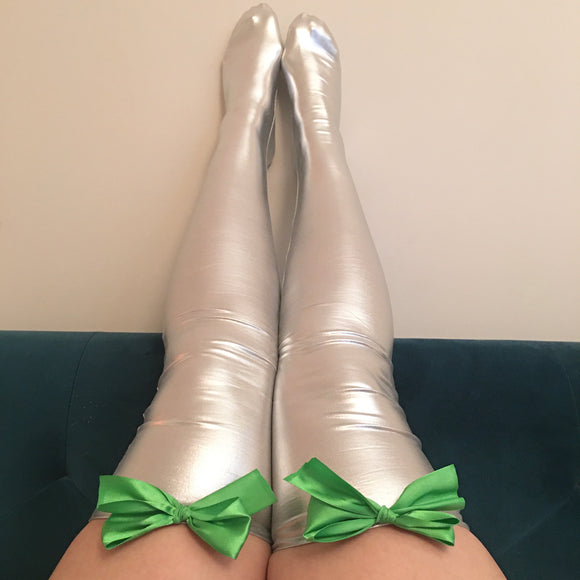Ava Pin-Up With Green Bows Wet Look Faux Leather/Latex Silver Thigh High Stockings - Choose Colour Bows
