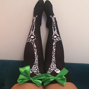 Blair Candy Skulls Halloween Pin-Up Black With Green Bows Thigh High Stockings - More Colour Bows