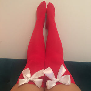 Ava Pin-Up Red With White Bows Thigh High Stockings - Choose Colour Bows