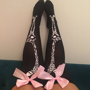Blair Candy Skulls Halloween Pin-Up Black With Light Pink Bows Thigh High Stockings - More Colour Bows
