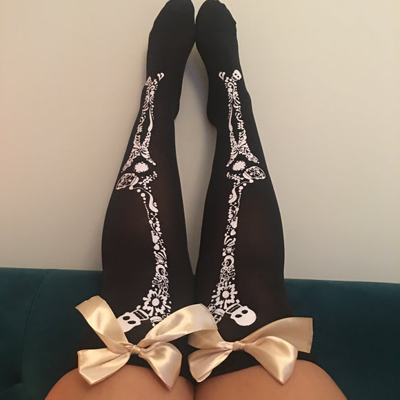 Blair Candy Skulls Halloween Pin-Up Black With Gold Bows Thigh High Stockings - More Colour Bows