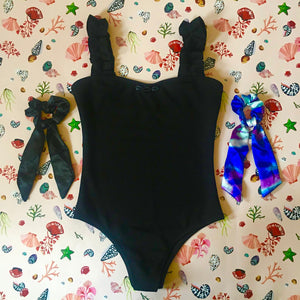 Ray Shells Black Ribbed Swimming Costume and Two Bow Scrunchies - Tropical Swimwear Gift Box Set