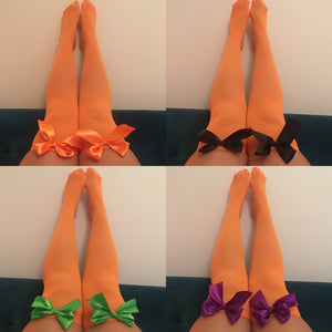 Ava Pin-Up Halloween Orange Thigh High Stockings - Choose Colour Bows
