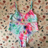 Bree Rainbow Bikini Top & High Waisted Briefs Set and Two Bow Scrunchies - Tropical Swimwear Gift Box Set