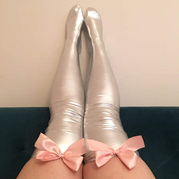 Ava Pin-Up With Light Pink Bows Wet Look Faux Leather/Latex Silver Thigh High Stockings - Choose Colour Bows