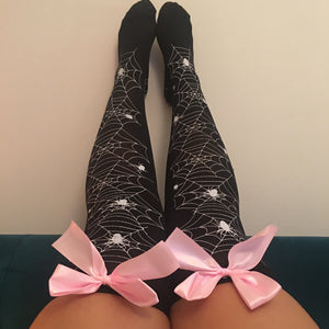 Blair Spider Webs Halloween Pin-Up Black With Light Pink Bows Thigh High Stockings - More Colours