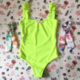 Bree Shells Yellow Ribbed Swimming Costume and Two Bow Scrunchies - Tropical Swimwear Gift Box Set