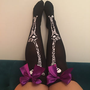 Blair Candy Skulls Halloween Pin-Up Black With Purple Bows Thigh High Stockings - More Colour Bows