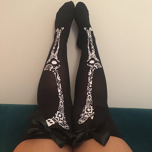 Blair Candy Skulls Halloween Pin-Up Black With Black Bows Thigh High Stockings - More Colour Bows