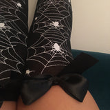 Blair Spider Webs Halloween Pin-Up Black With Black Bows Thigh High Stockings - More Colours