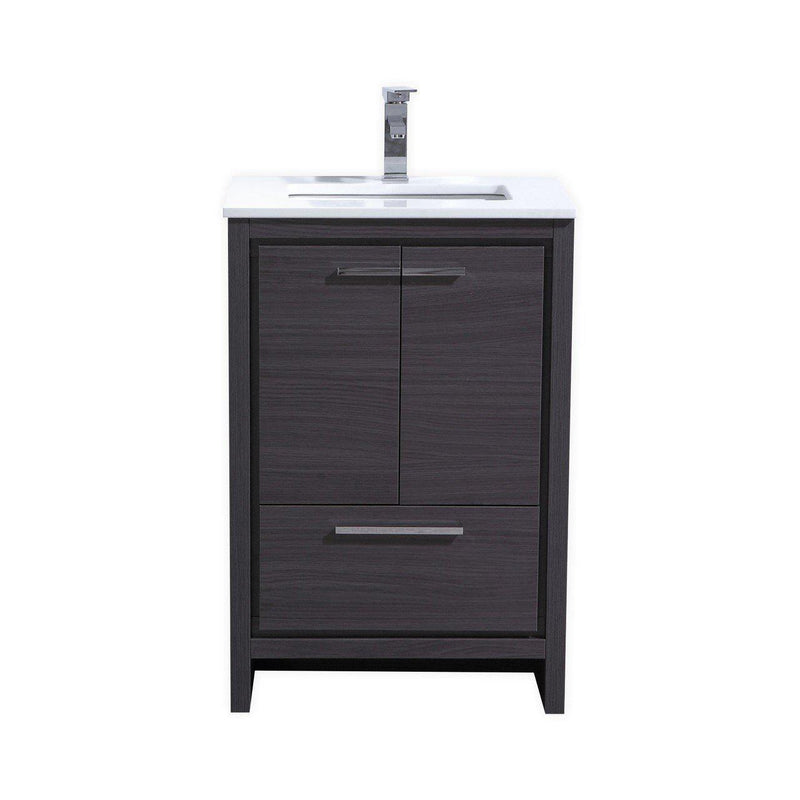 KubeBath Dolce 24″ Gray Oak Bathroom Vanity with White Quartz Counter-Top - The Modern Vanity