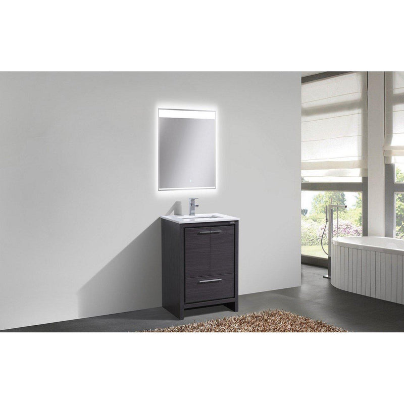 KubeBath Dolce 24″ Gray Oak Bathroom Vanity with White Quartz Counter-Top