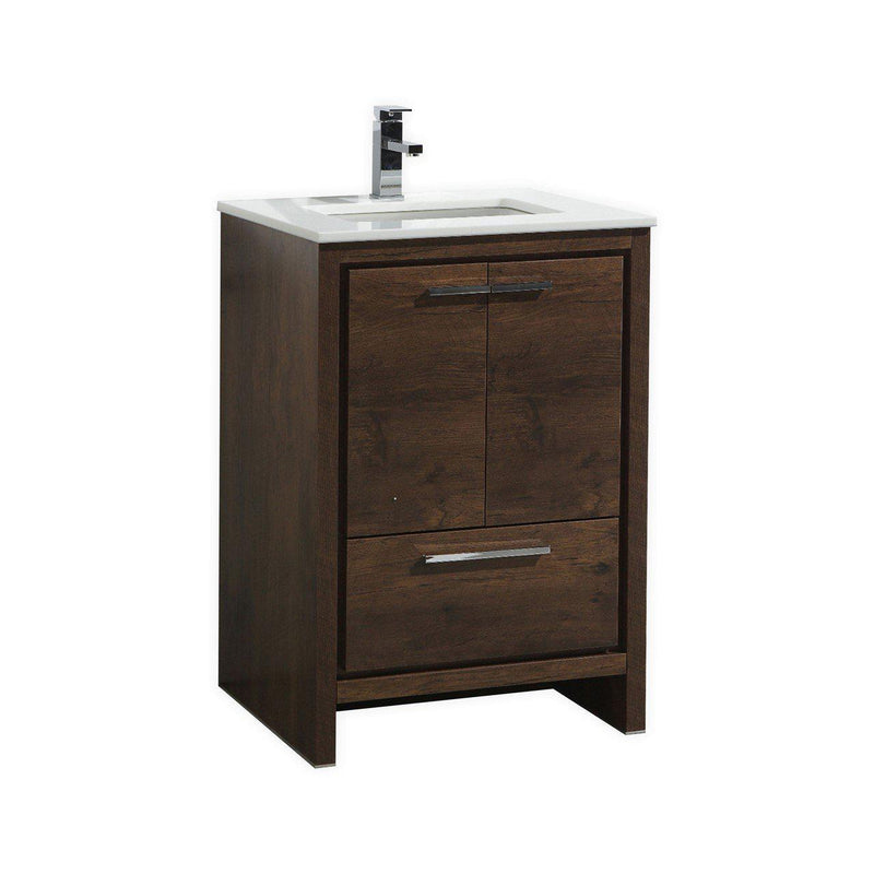 KubeBath Dolce 24″ Rose Wood Bathroom Vanity with White Quartz Counter-Top - The Modern Vanity