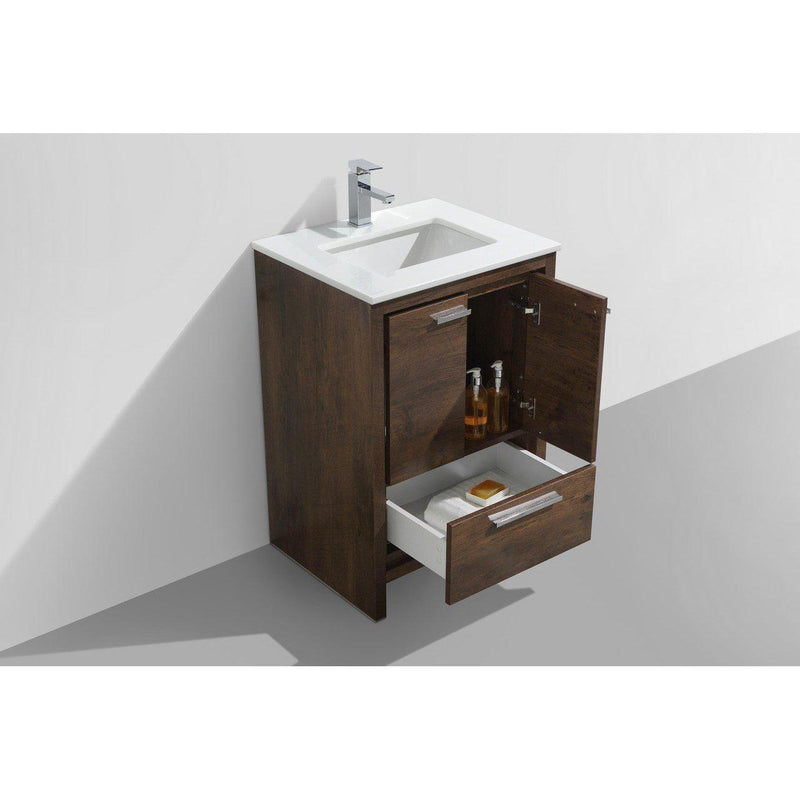 KubeBath Dolce 24″ Rose Wood Bathroom Vanity with White Quartz Counter-Top