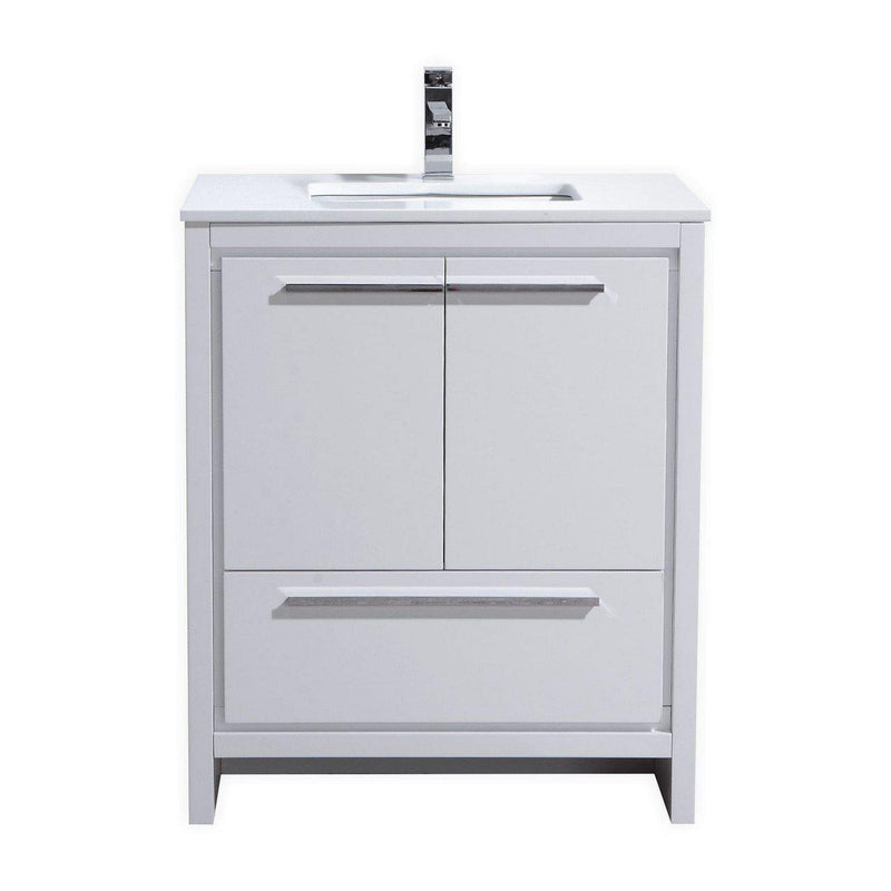 KubeBath Dolce 30″ High Gloss White Bathroom Vanity with White Quartz Counter-Top - The Modern Vanity