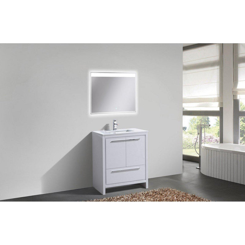 KubeBath Dolce 30″ High Gloss White Bathroom Vanity with White Quartz Counter-Top
