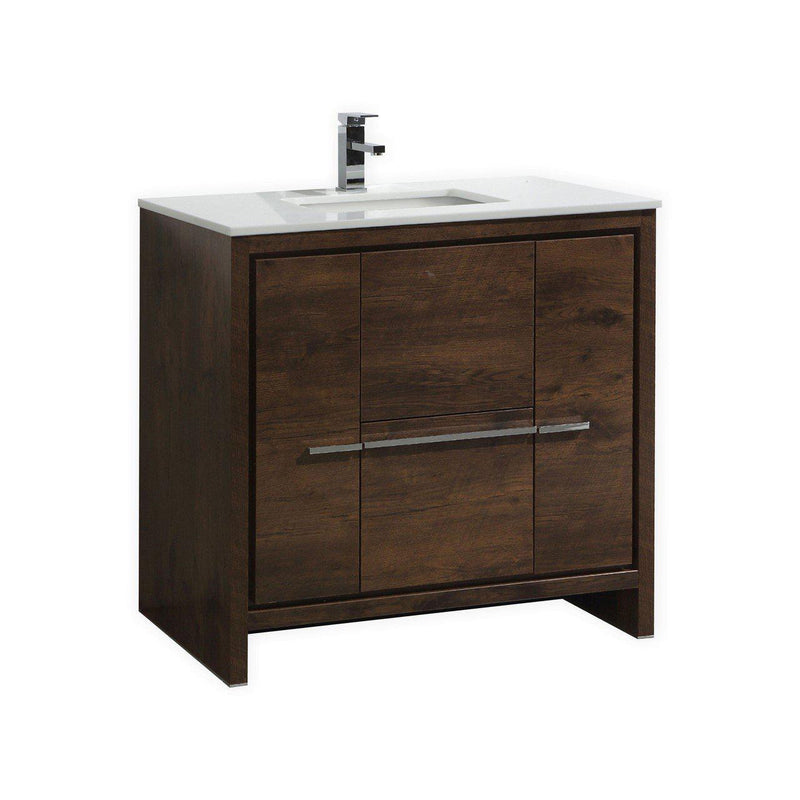 KubeBath Dolce 36″ Rose Wood Bathroom Vanity with White Quartz Counter-Top - The Modern Vanity