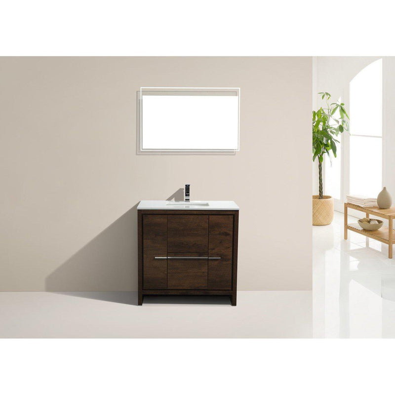 KubeBath Dolce 36″ Rose Wood Bathroom Vanity with White Quartz Counter-Top