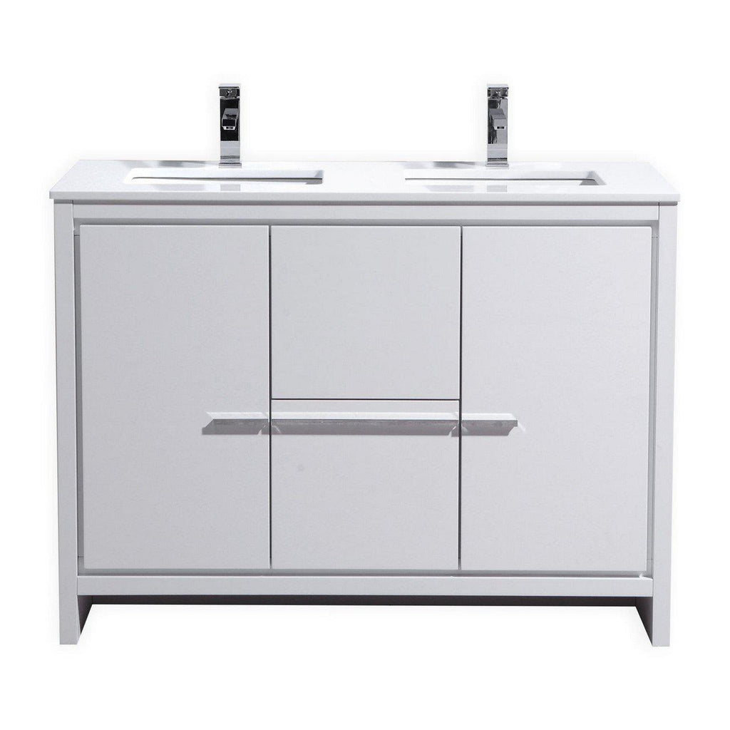 KubeBath Dolce 48″ Double Sink High Gloss White Bathroom Vanity with White Quartz Counter-Top - The Modern Vanity