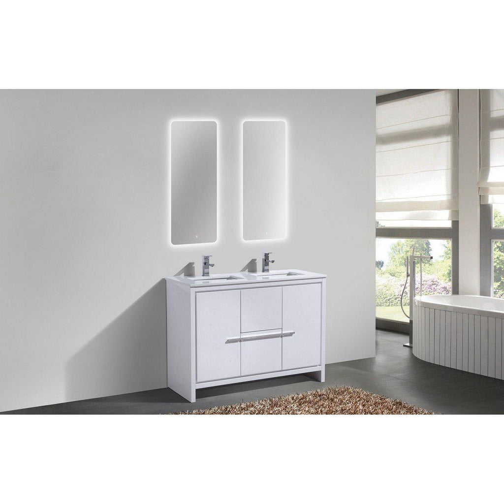 KubeBath Dolce 48″ Double Sink High Gloss White Bathroom Vanity with White Quartz Counter-Top