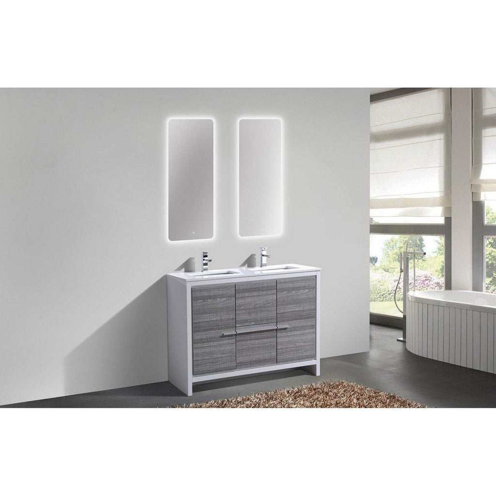 KubeBath Dolce 48″ Double Sink Ash Gray Bathroom Vanity with White Quartz Counter-Top