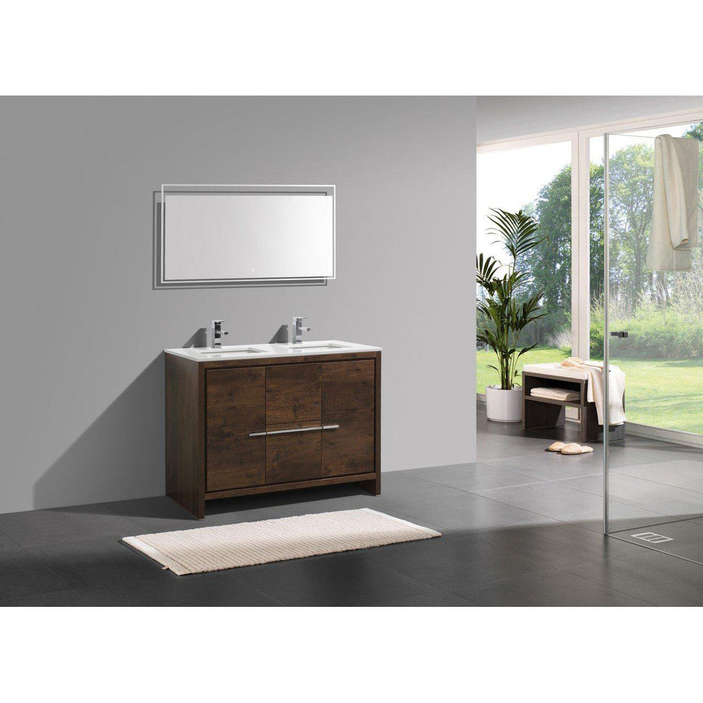 KubeBath Dolce 48″ Double Sink Rose Wood Bathroom Vanity with White Quartz Counter-Top