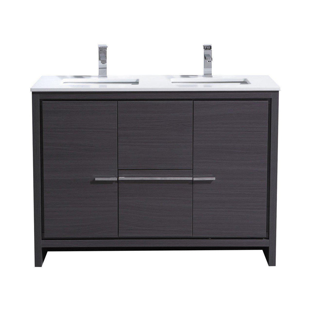 KubeBath Dolce 48″ Double Sink Gray Oak Bathroom Vanity with White Quartz Counter-Top - The Modern Vanity