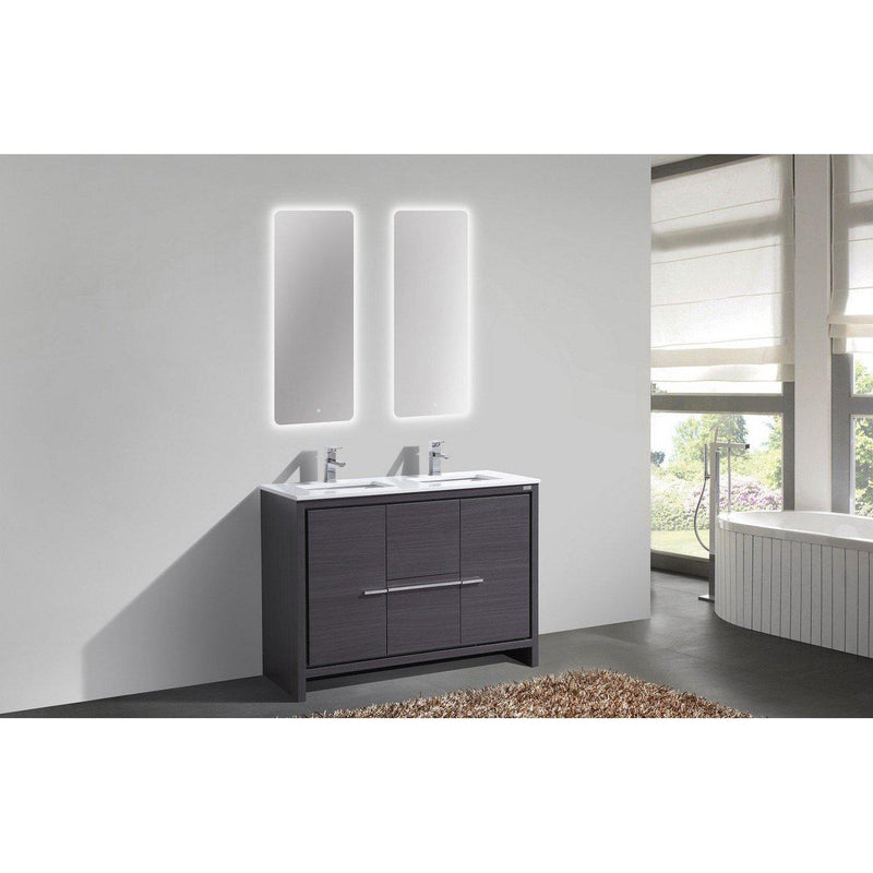 KubeBath Dolce 48″ Double Sink Gray Oak Bathroom Vanity with White Quartz Counter-Top