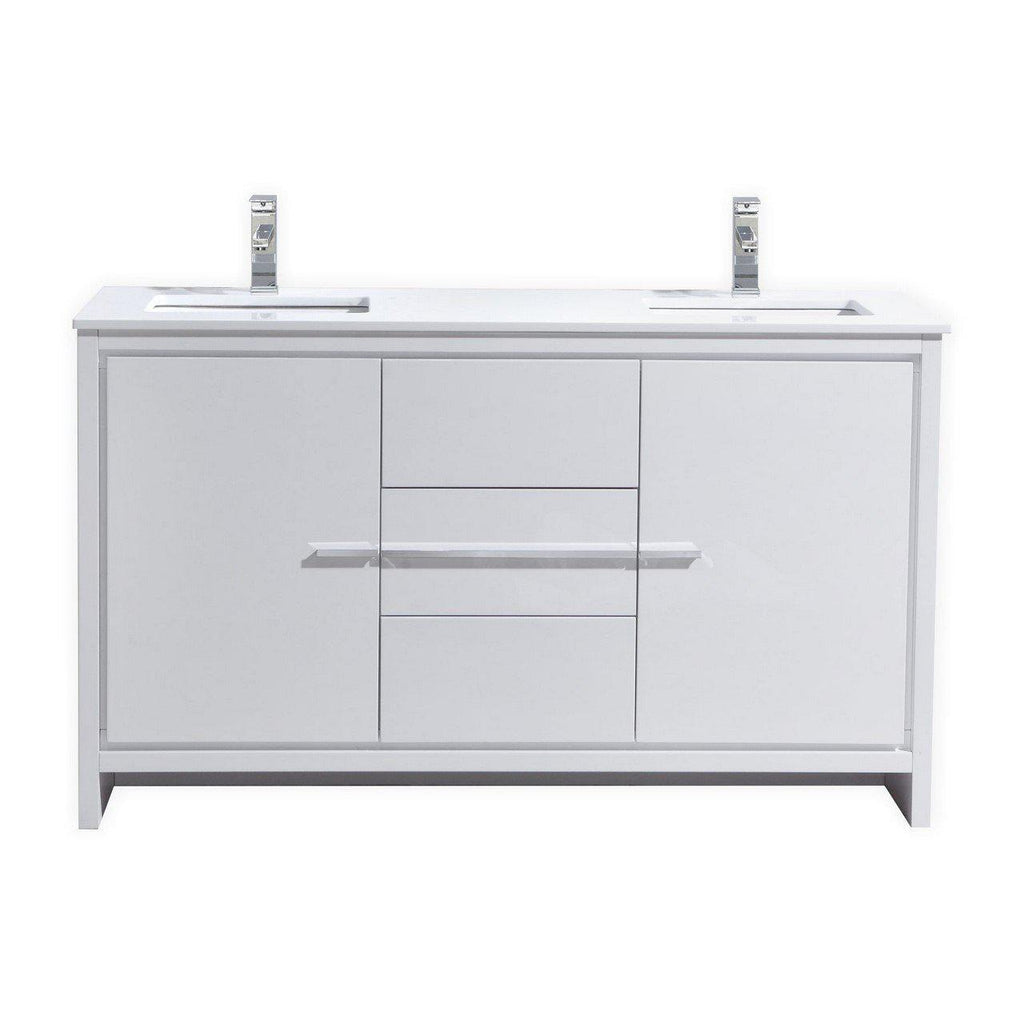 KubeBath Dolce 60″ Double Sink High Gloss White Bathroom Vanity with White Quartz Counter-Top - The Modern Vanity