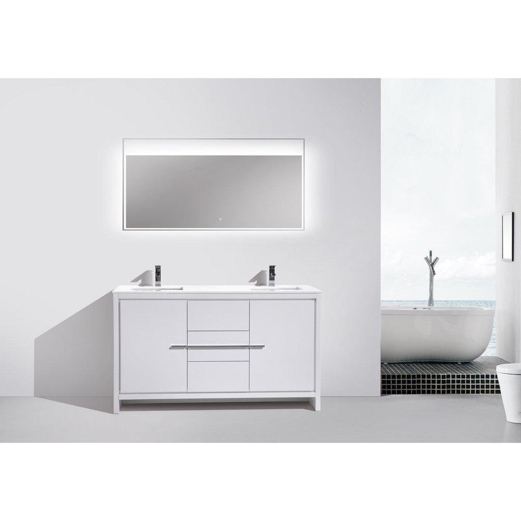KubeBath Dolce 60″ Double Sink High Gloss White Bathroom Vanity with White Quartz Counter-Top