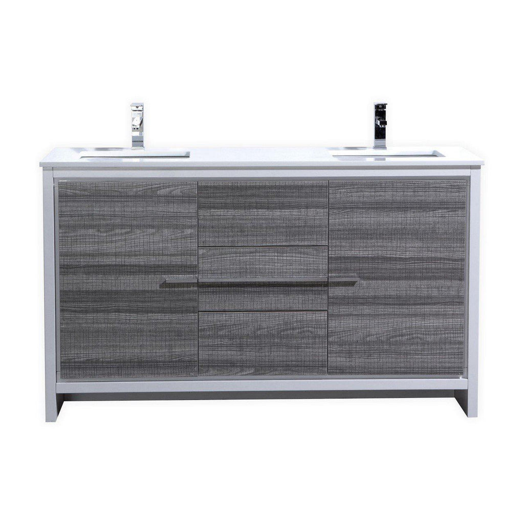 KubeBath Dolce 60″ Double Sink Ash Gray Bathroom Vanity with White Quartz Counter-Top - The Modern Vanity