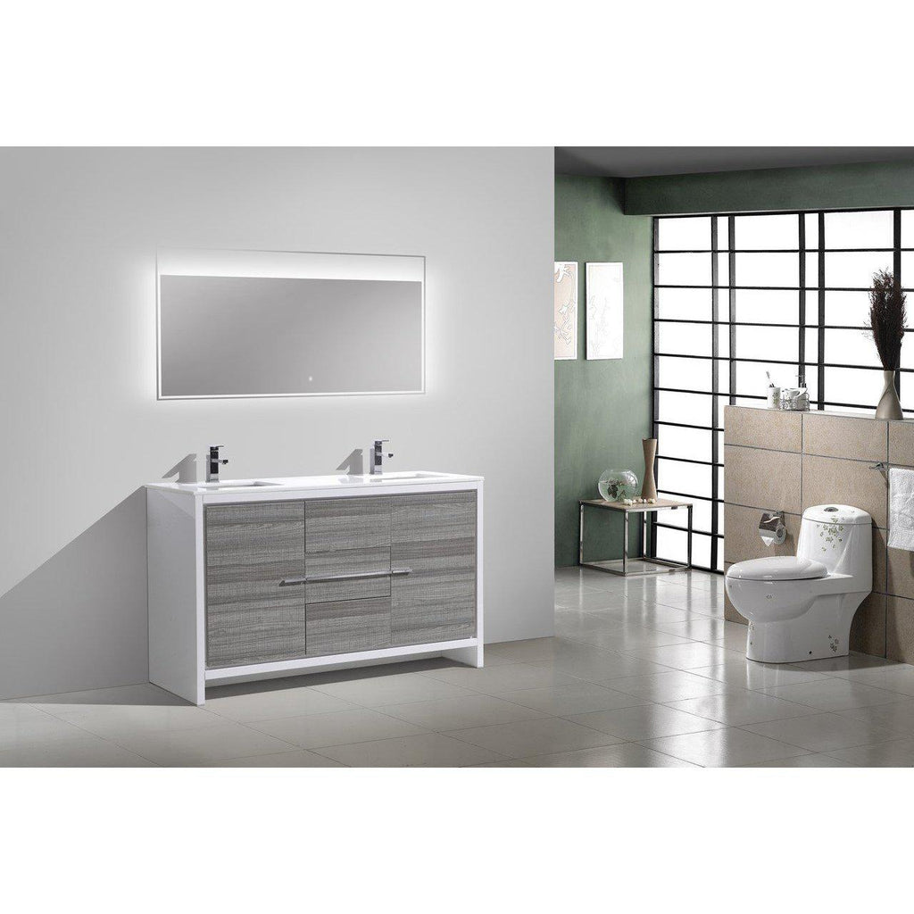KubeBath Dolce 60″ Double Sink Ash Gray Bathroom Vanity with White Quartz Counter-Top