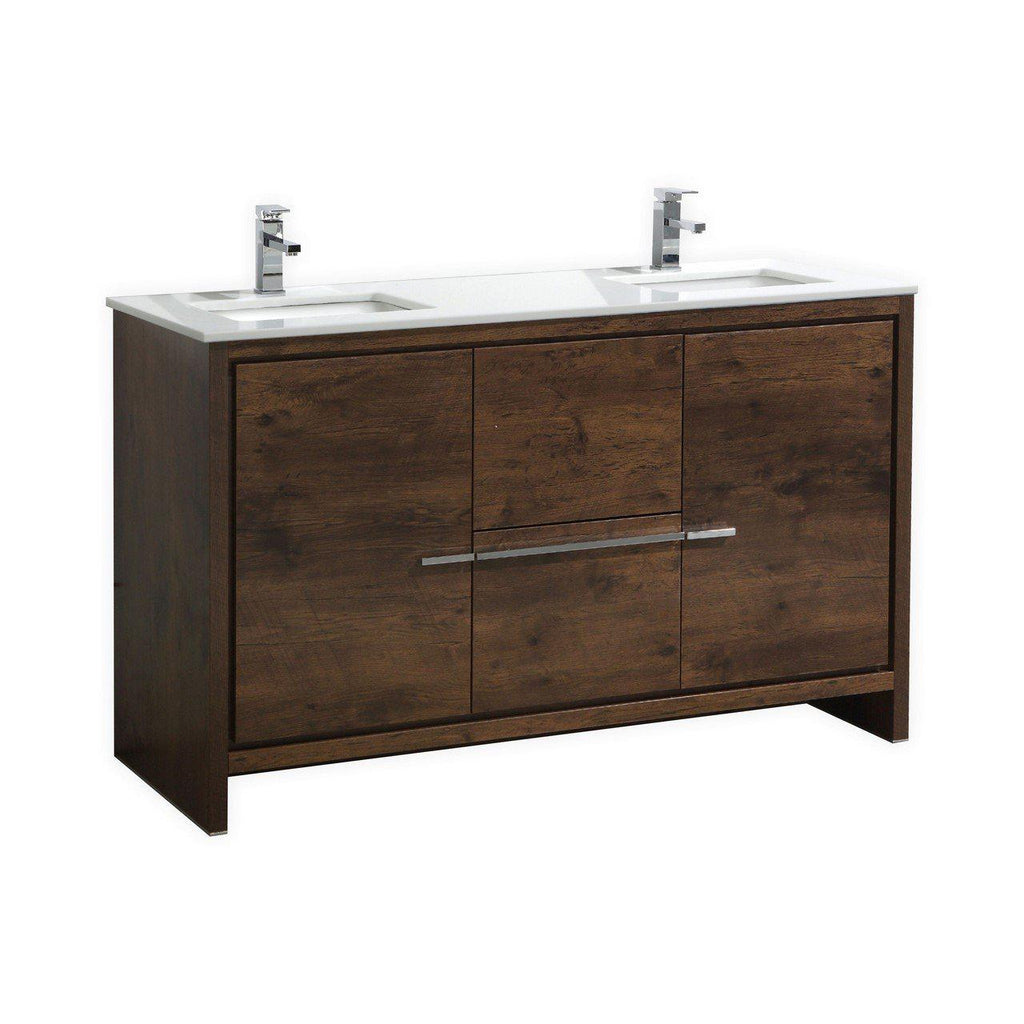KubeBath Dolce 60″ Double Sink Rose Wood Bathroom Vanity with White Quartz Counter-Top - The Modern Vanity