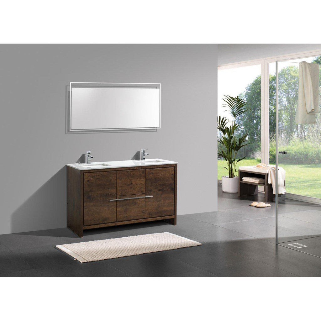 KubeBath Dolce 60″ Double Sink Rose Wood Bathroom Vanity with White Quartz Counter-Top