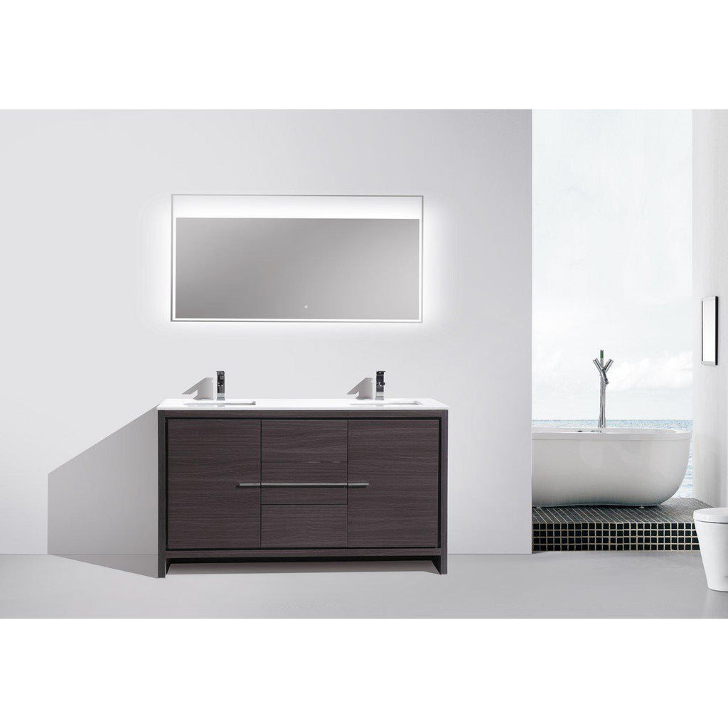 KubeBath Dolce 60″ Double Sink Gray Oak Bathroom Vanity with White Quartz Counter-Top