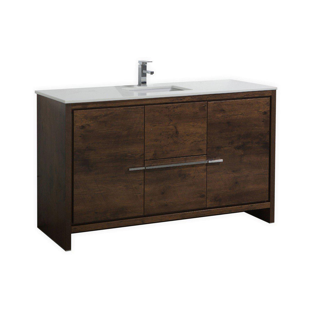 KubeBath Dolce 60″ Rose Wood Bathroom Vanity with White Quartz Counter-Top - The Modern Vanity