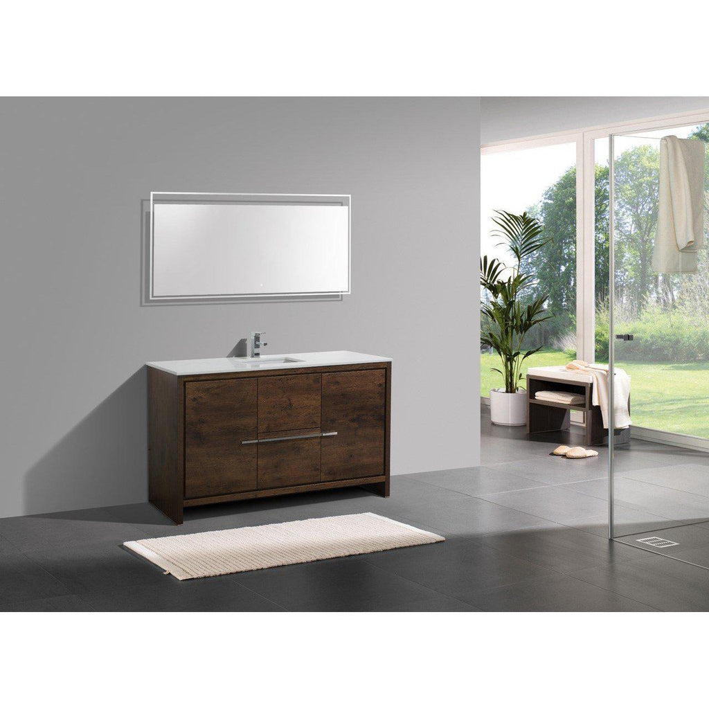 KubeBath Dolce 60″ Rose Wood Bathroom Vanity with White Quartz Counter-Top