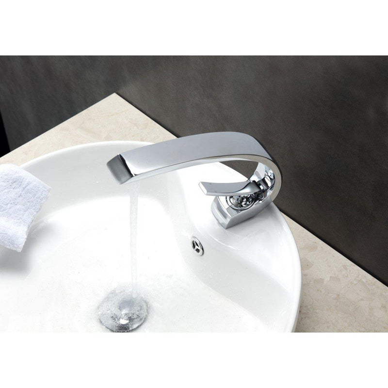 Aqua Arcco Single Lever Modern Bathroom Vanity Faucet- Chrome