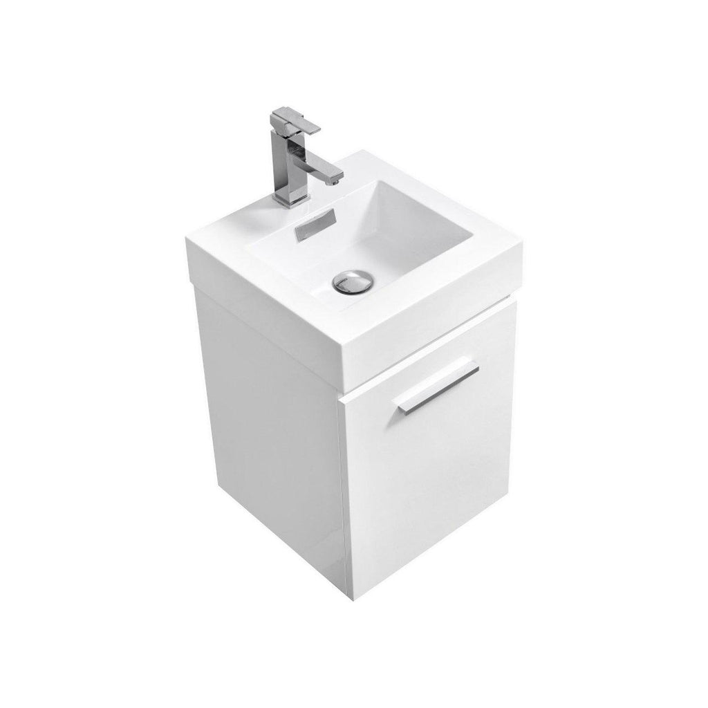 "KubeBath Bliss 16"" High Gloss White Floating Bath Vanity - The Modern Vanity"