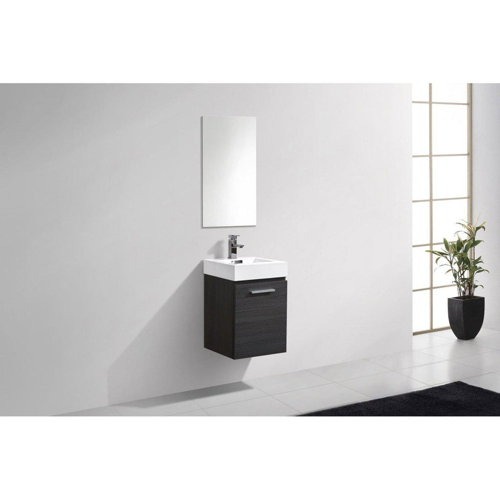 "KubeBath Bliss 16"" High Gloss Gray Oak Floating Vanity"